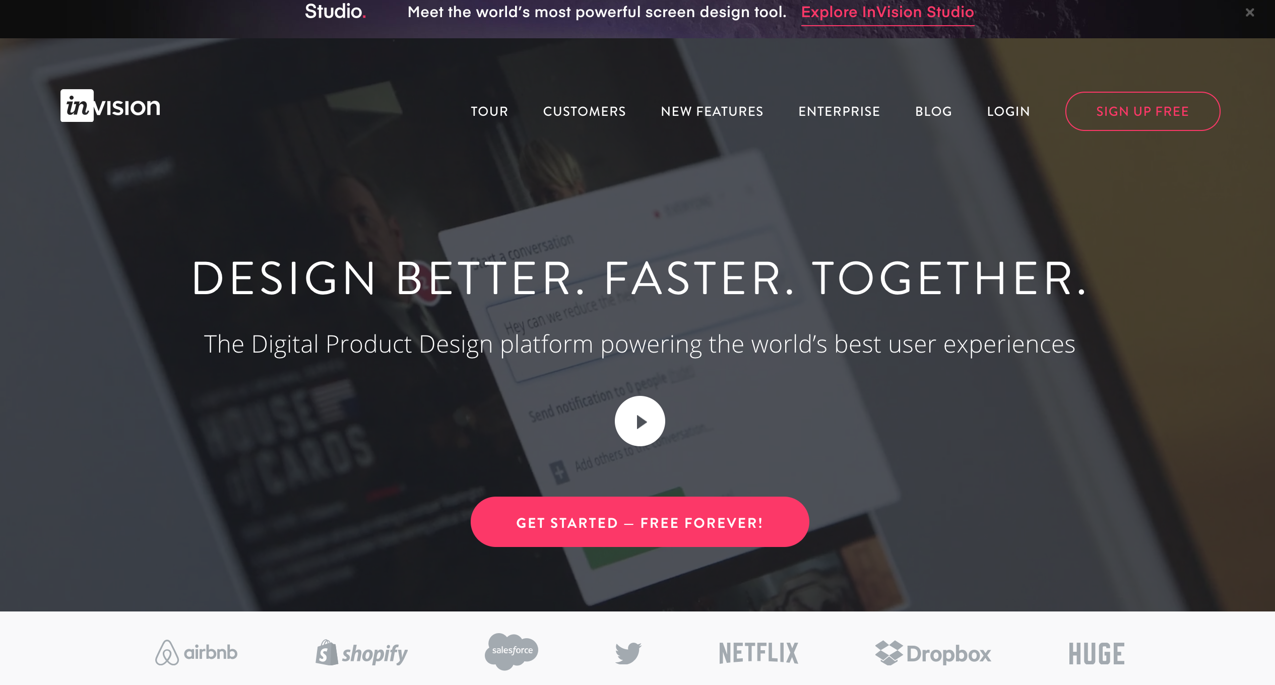 invision saas marketing example