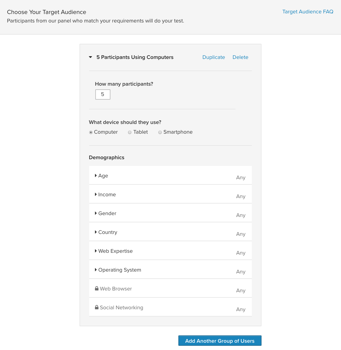 user testing screening